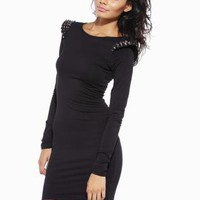 Black Long Sleeve Fitted Dress with Stud Shoulder Detail