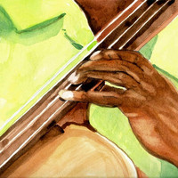 Music Art Watercolor Painting Bass Player Hand 8x10