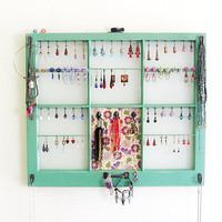 Upcycled Window Jewelry Holder, Wall Hanging Jewelry Organizer, Green Jewelry Display, Upcycled Decor