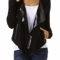 Black Long Sleeve Open Cardigan with Sequin Embellishment