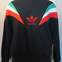 VTG Rare 80s ADIDAS MEXICO STRIPES Black SMALL Soft Soccer Sports Rad SWEATSHIRT