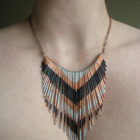 Copper Necklace - Fringe Metal Necklace - Multi V silver and black lacquer stripes - Copper Jewelry