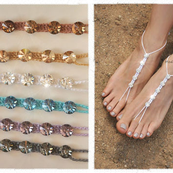 CRYSTALLIZED - Swarovski Elements Barefoot Sandals,colorful bridal foot jewelry,beach wedding accessory,beach shoes,barefoot sandl