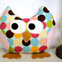 Stuffed Owl Pillow Plush Owl Toy Accent Kids Bed Pillow Stuffed Animal Owl Nursery Decor Polka Dots and Stripes