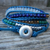 Beaded Leather 5 Wrap Bracelet with Blue Riverstone Green Jade and Czech Glass Beads on Blue Leather