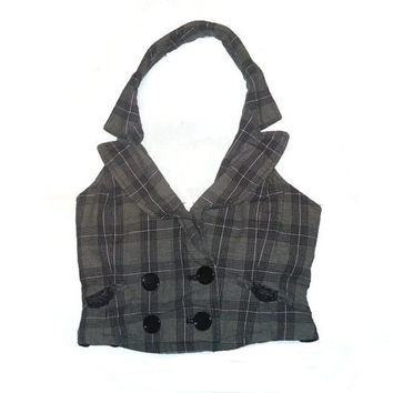 Form Fitting Brown Plaid Vest Womens Clothing Small
