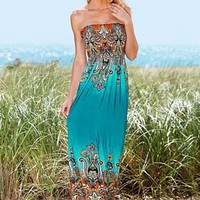 Strapless print maxi dress from VENUS