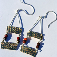 Brass and Sterling Silver Textured Dangle Earrings with Jasper Beads