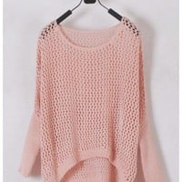 Women Euro Style Hollow-out Bat-wing Sleeve Scoop Asymmetrical Pink Knitting Sweater One Size @WH0183p $16.51 only in eFexcity.com.