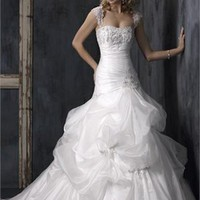 Cap Sleeve Trumpet Mermaid with Pleats Wedding Dress PMDB089 -Shop offer 2012 wedding dresses,prom dresses,party dresses for girls on sale. #Category#