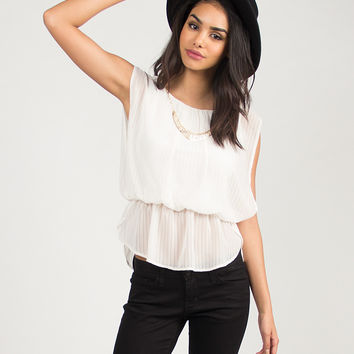 Sheer Striped Necklace Blouse - Ivory /