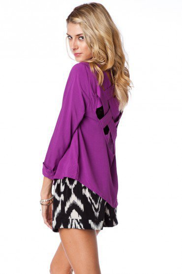 Weaved Back Blouse in Plum - ShopSosie.com