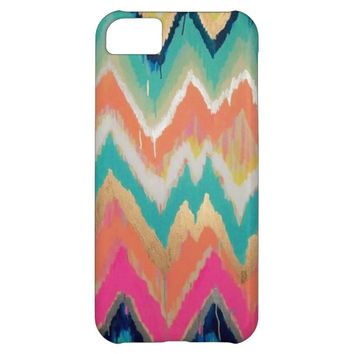 Watercolor Bright Chevron Zig Zag Stripe Pattern iPhone 5C Case