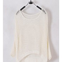 Women Euro Style Hollow-out Bat-wing Sleeve Scoop Asymmetrical White Knitting Sweater One Size @WH0183w $16.51 only in eFexcity.com.