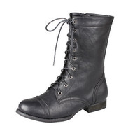Refresh by Beston Women's 'Libby-01' Lace-up Combat Boots | Overstock.com