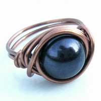 Swarovski Pearl Ring In Night Blue .. on Luulla