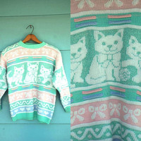 1980s. pastel &amp; glitter cat with bows sweater. s-l