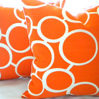 Designer Indoor Outdoor Trina Turk Orange Sunglass Pillow cover 18 X 18