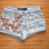 Free worldwide Shipping - Make To Order Vintage High Waist Hipster Light Blue Jeans Flowers Pink Gold Pyramid Studded Cut Off Shorts