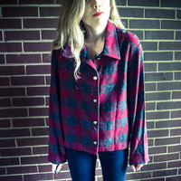 Repurposed / Recycled Vintage Red Grey Plaid Studded Shoulder Jacket