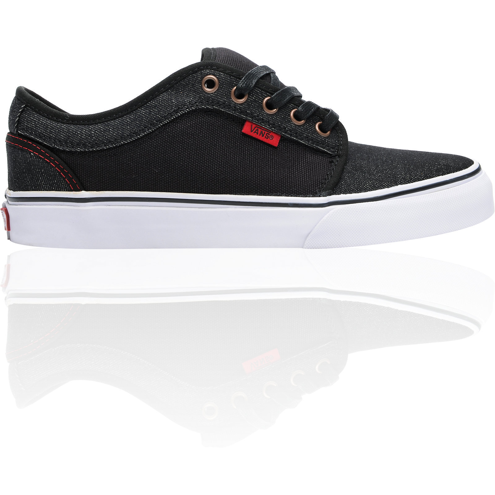 Vans Chukka Low Black Denim Red Skate Shoe