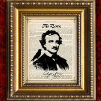 EDGAR ALLAN POE Vintage Art Print 8x10 on Antique 1883 Book Page or 1897 Dictionary Page