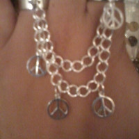 Bohemian Silver Peace Sign Chain Ring