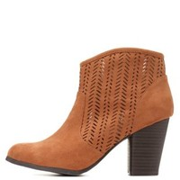 Qupid Perforated Chunky Heel Booties by Charlotte Russe - Rust