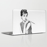 Audrey Hepburn | Watercolor Painting Laptop & iPad Skin by Olechka