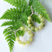 Sterling silver earrings with lime green beads - chartreuse jade gemstones beaded hoops