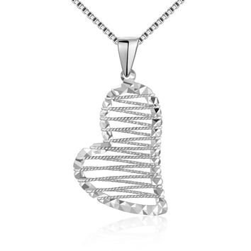 14K White Gold Diamond Cut Heart w/ String Web Filled Pendant (16'), Women Valentine's Jewelry Gift