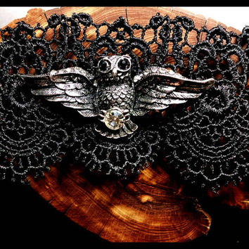 RTS Handmade Owl Choker on Black Lace Choker Handcrafted Athena Victorian Jewelry Goth Harry Potter Necklace Holiday Gift Custom Length