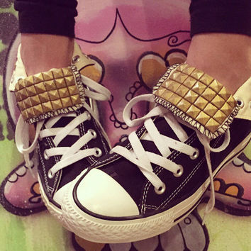 Custom Gold Studded Black Converse High Tops - Chuck Taylors - ALL SIZES & COLORS!!!
