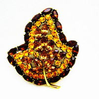 Vintage Brooch Gold and Brown, Amber Rhinestone Jewelry , Autumn Leaf Brooch