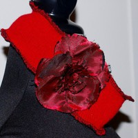 Wide Red Sweater Headband with full red flower accent