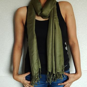Green Pashmina Scarf, Indian Scarf, Winter Scarf