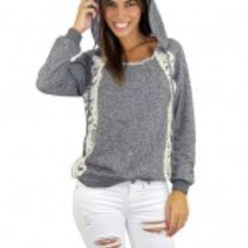 Gray Hoodie With Crochet Sides