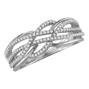 1/4 CT. T.W. Diamond Loose Braid Ring in Sterling Silver - Size 7