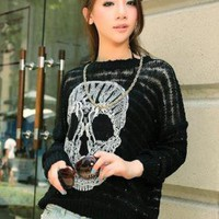 Skull Bat Sleeve Sweater Black S002460