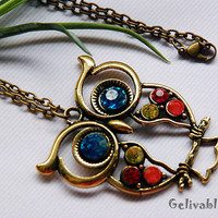 Vintage Style Owl necklace with colorful crystals NO04
