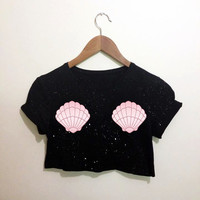 The Little Mermaid Shell Black Crop Top T Shirt Festival Emo Hipster Kawaii