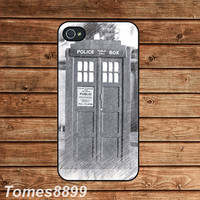Tardis Dr Who in Sketch--iphone 4 case,iphone 4s case ,in plastic or silicone case
