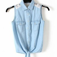 Blue Denim Vest with Lace  S001034