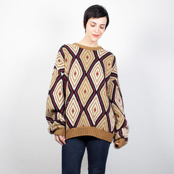 Vintage 90s Sweater Burgundy Tan Gold Black Diamond Boyfriend Sweater Jumper 1990s Sweater Oversize Chunky Knit Soft Grunge XL Extra Large
