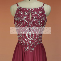 Classic Cheap Burgundy Long Prom Dress Spaghetti Strap Crytals Pearl Beaded Backless Prom Gowns Sexy Evening Dress Homecoming Dresses 2014