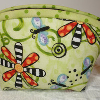 Coin Purse Quilted Zipper Pouch Wallet - lime green, orange - butterfly charm