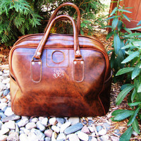 vintage brown overnight, weekender bag