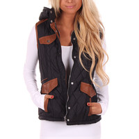 Black Padding Hooded Vest