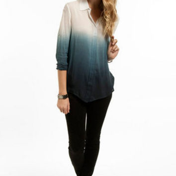 Color Fade Button Up Blouse $43