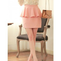 Pink Floral Ruffle Slim Fitting Cotton Polyester Fashion Cute Dress S/M @MF9903